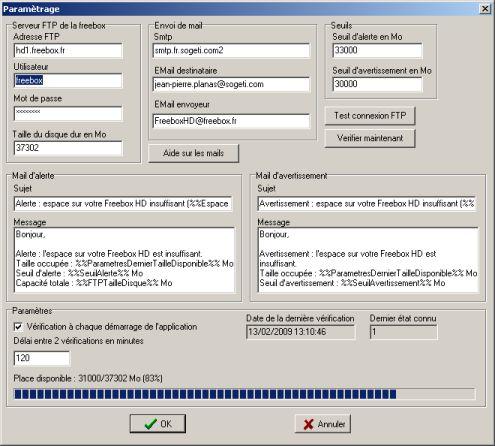 FreeBoxHDAlert : Un mail dès que le disque de la FreeboxHD est plein.
