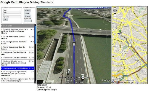 Google Earth Plug-in Driving Simulator : Un simulateur de trajet.