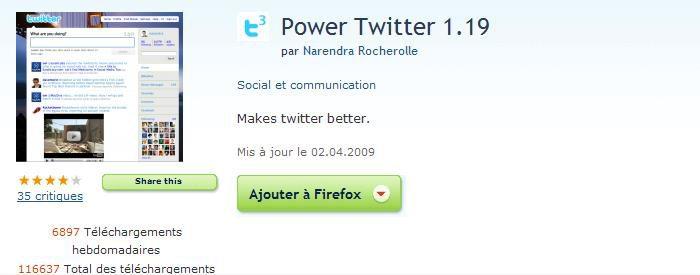Power Twitter : Un plugin pour Firefox qui améliore Twitter.