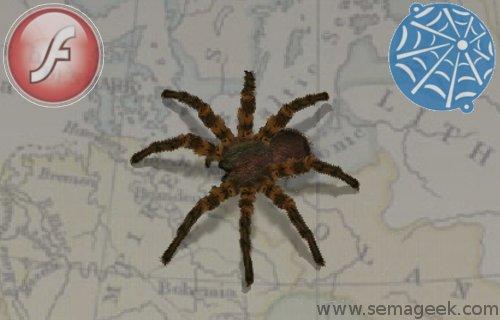 Amusez vous avec une araignée 3D en flash.