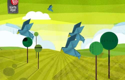 Tori's Eye : Des pigeons en origami transportent vos tweets.
