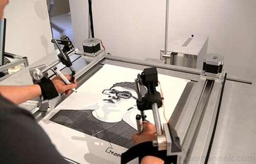 Dessinez votre portrait à l'aide d'une machine.