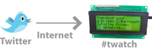Twatch : Un afficheur LCD autome pour Twitter.