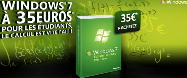 Windows Seven à 35 € pour les étudiants : Pas cher !