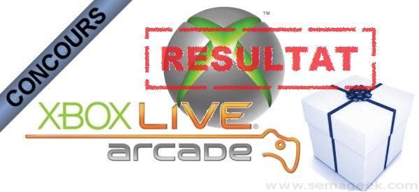 Résultat du concours XBox Live Arcade.