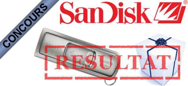 Résultat du concours clés USB Sandisk Ultra Cruzer Titanium.