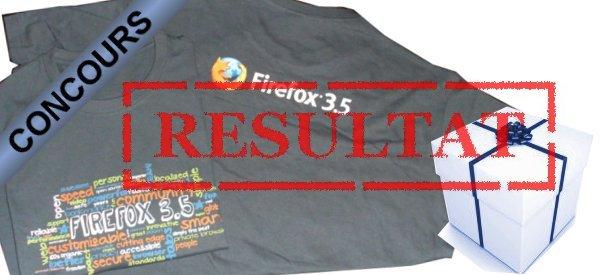 Résultat du concours Tee-shirts Firefox.