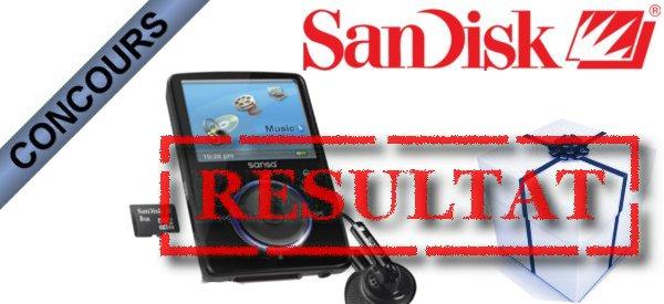 Résultat du concours Lecteurs Multimédia Sandisk Fuze