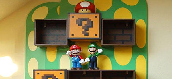 Une décoration d'appartement Super Mario Bros 8 bits.