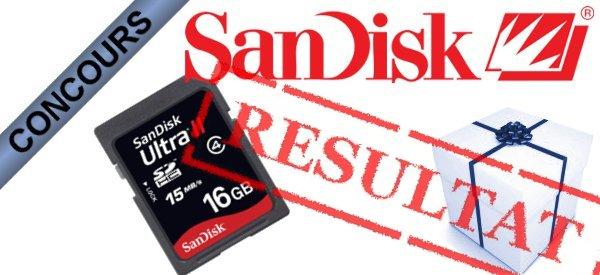 Résultat du Concours Cartes Sandisk SDHC 16 Go
