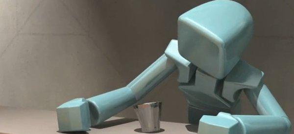 Vidéo : Une animation 3D d'un robot qui a trop bu.