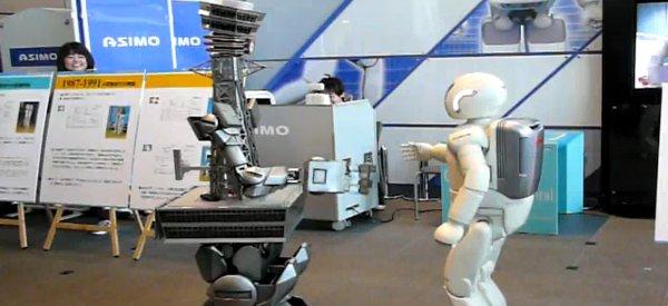 Vidéo : Quand Asimo rencontre le robot Tsutenkaku.