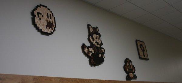 8BITSWOOD : Du Pixel Art 8 bits avec différentes essences de bois.