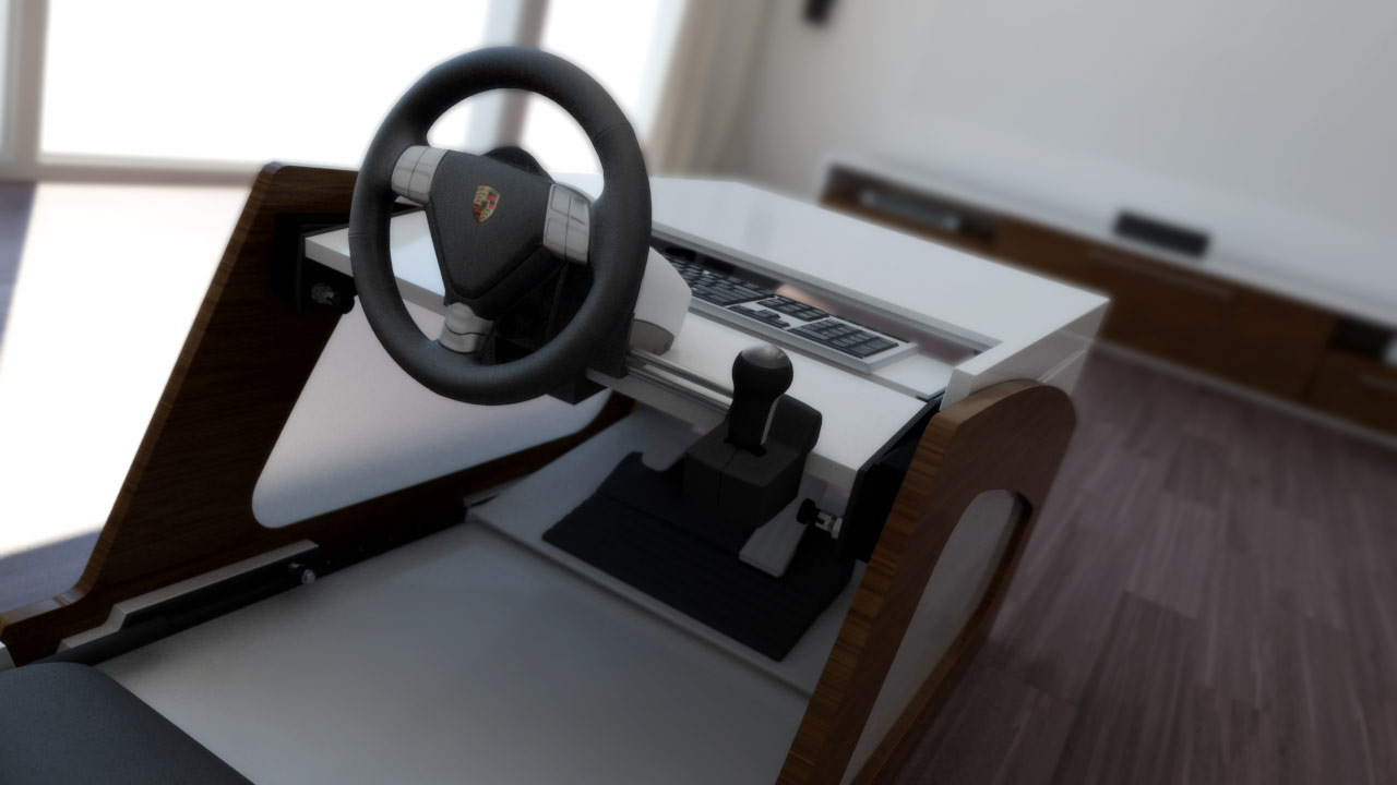 racestar converttable un cockpit de simulateur automobile cach dans une table base semageek. Black Bedroom Furniture Sets. Home Design Ideas