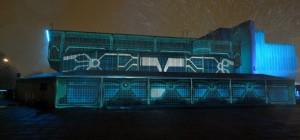 Une projection Tron Legacy Grid sur les façades d'un building de Londres