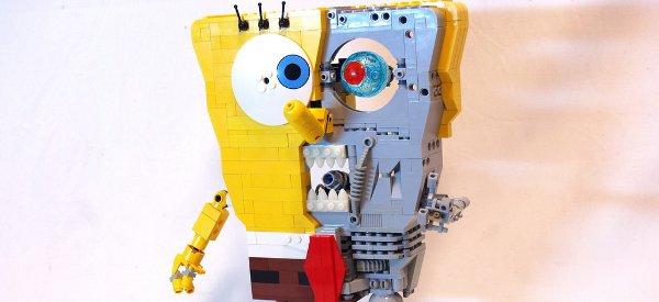 Un mashup de Bob l'éponge et Terminator en sculpture de LEGO