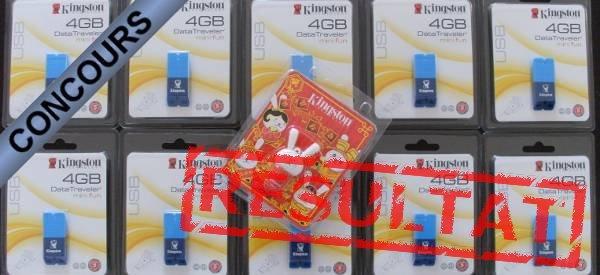 Résultat du concours clés USB Kingston, les gagnants sont...