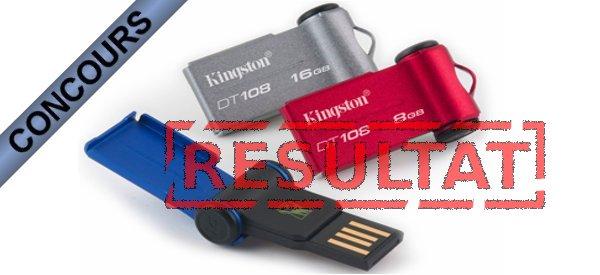 Résultat du concours clés USB DT108 Kingston, les gagnants sont…