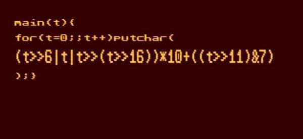Générer de la musique 8 bits en une ligne de code C