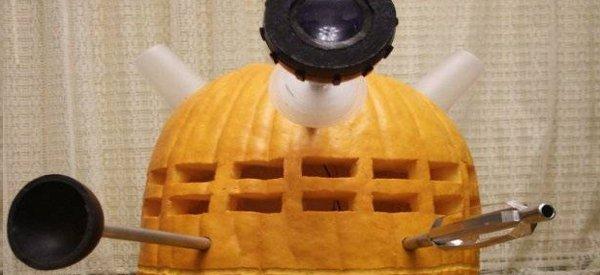 Halloween : Une citrouille représentant Dalek de Dr Who