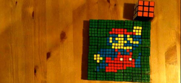 Super Rubik Land : Un portrait de Super Mario en timelapse avec des Rubik's Cubes