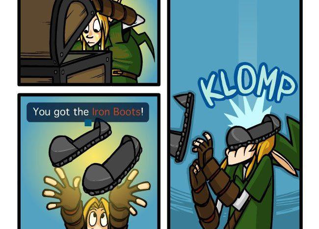 FAIL : Link récupère les bottes de fer dans Zelda