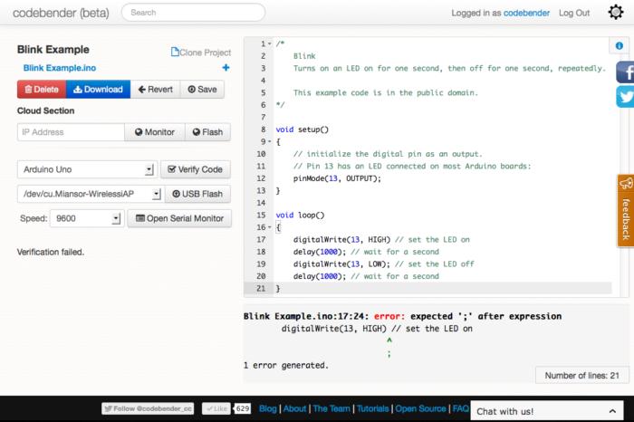 Codebender : Un outils en ligne pour développer sur Arduino