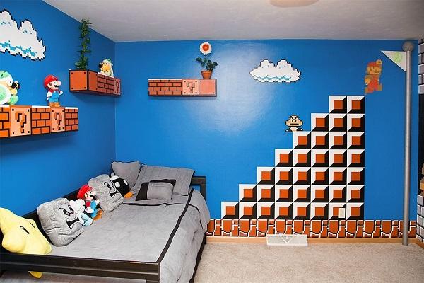 Une superbe décoration de chambre sur le thème Super Mario Bros