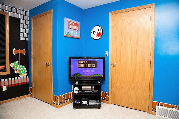 une superbe d coration de chambre sur le th me super mario bros semageek. Black Bedroom Furniture Sets. Home Design Ideas