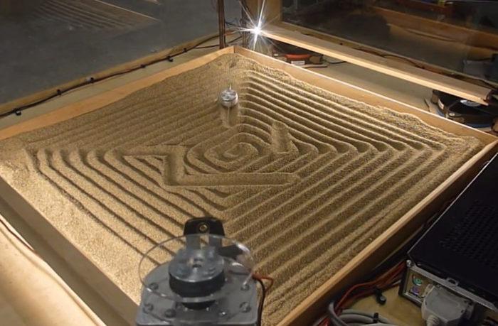 Une machine qui dessine dans le sable avec un système à 4 câbles