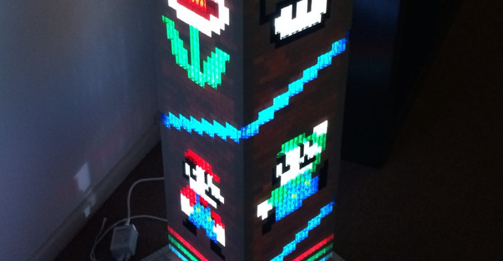 Une lampe sur le thème de Super Mario Bros réalisée en LEGO
